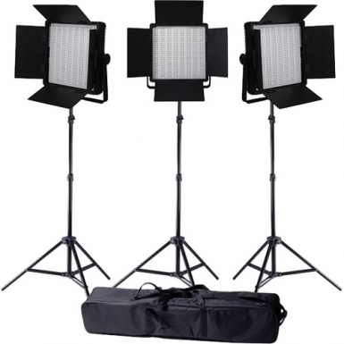 LedGo Value series 3x LG-600SC Bi-Color LED Studioverlichting Set